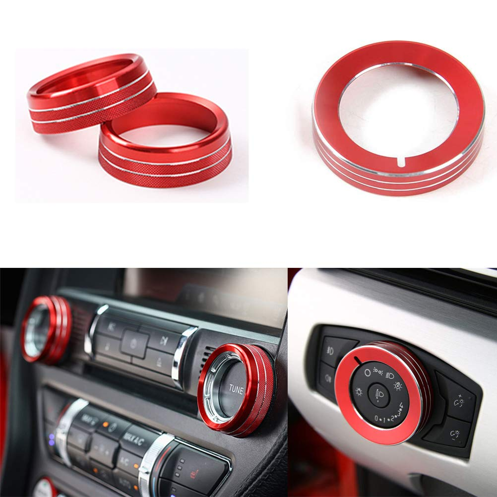 4pc Red ramuel Compatible with Steering Wheel Sticker Carbon Fiber Special Interior Cover Trim for Ford Mustang 2016 2017 2018 2019 2020