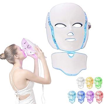 7 colores máscara LED facial luz cuello cara piel ...