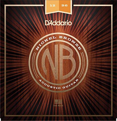 D'Addario Nickel Bronze Acoustic Guitar Strings, Lt. Top/Med. Bottom, 12-56