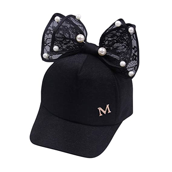 cbc5ff623eb Perman Sun Hat Girls Toddler Summer Pearl Bowknot Bucket Baseball Beret Cap  (Black)  Perman  Amazon.ca  Watches