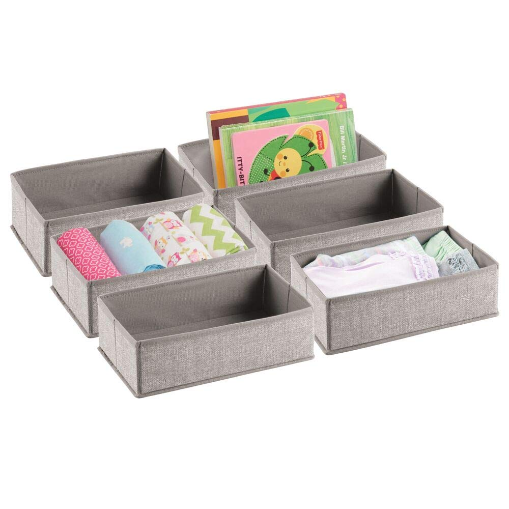 6 Pack mDesign Soft Fabric Dresser Drawer and Closet Storage Organizer Set for Child//Baby Room Linen Rectangular Organizer Bins with Textured Print Bedroom Playroom Nursery