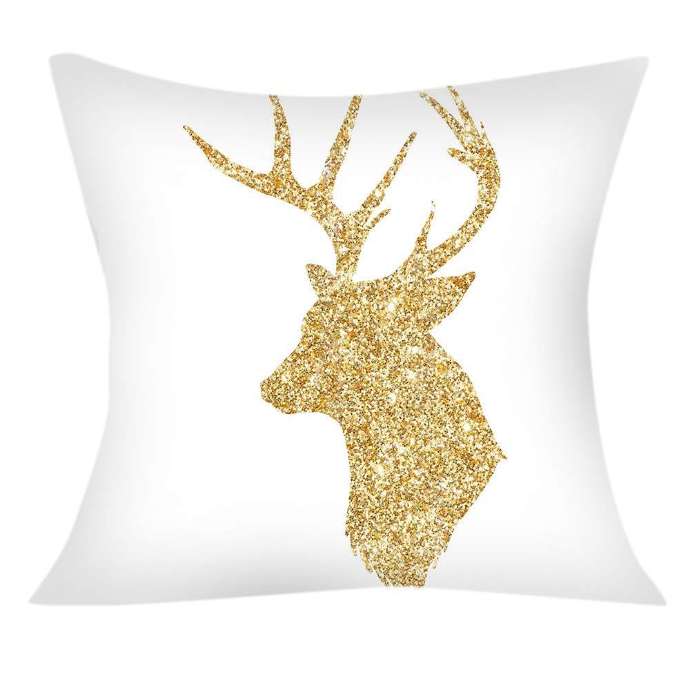 Weiliru Cotton Linen Decorative Pillowcase Throw Pillow Cushion Cover Square,Christmas Decor,White