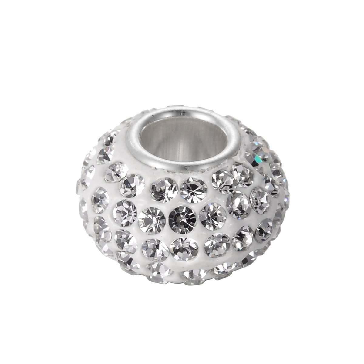 HooAMI 925 Sterling Silver Clear Crystal Ball Beads Spacer Birthstone Fit Charm Bracelets 12x7mm