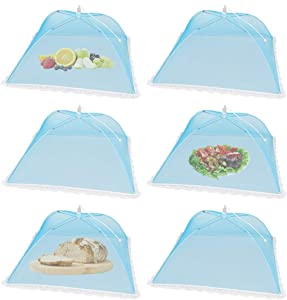 (6Pack) Pop-up Picnic Food Tent Covers, 17x17Inch Foldable Blue Mesh Screen Food Covers for Outdoors, Reusable Food Cover Net Keep out Flies, Mosquitoes
