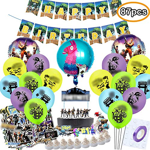 TOYOYO Video Game Party Supplies for Birthday Party, 87 Pcs Game Theme Party Favors - Banner - Cake Topper - Balloons - Sticker - Tools for Kids, Adults, Boys Gamer ()