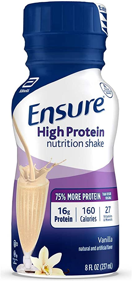 Ensure High Protein Nutrition Shake, Low Fat, Vanilla, 8 ounces, 24 count:  Amazon.ca: Health & Personal Care