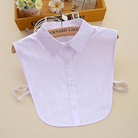 1 Pieza de algodón Blanco de algodón Desmontable Media Camisa Blusa Falso Collar (Blanco): Amazon.es: Ropa y accesorios