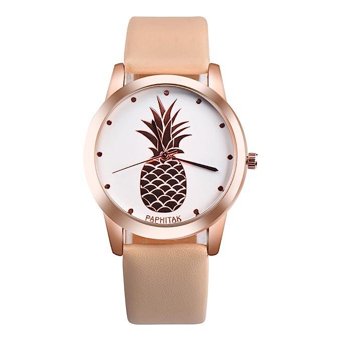 Coconano Relojes Mujer Baratos, Reloj de Cuarzo Analógico de Cuero Sintético Con Piña Paphitak Para Mujer: Amazon.es: Ropa y accesorios