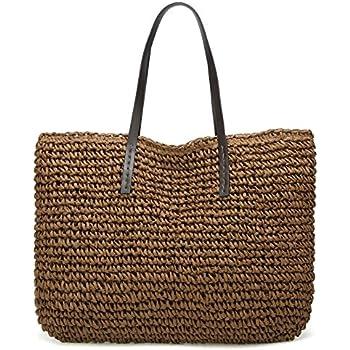Molodo Summer Straw Handbags Top Handle Crossbody Shoulder Satchels Tote  Beach Purse Bags Dark-coffee 8d525e7e092f6