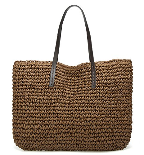 Molodo Women Summer Straw Beach Large Woven Bags Purse Tote Handbags (darkcoffee2) ()