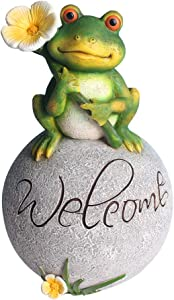 MARYTUMM Garden Decor Welcome Statue Cute Frog, for Outdoor Patio Ornaments Yard Art Figurines Decorations