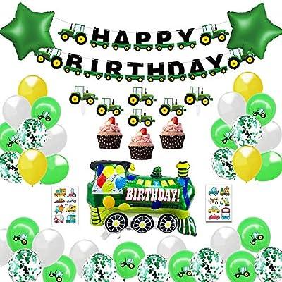 MMTX Decoracion Cumpleaños Globos de Feliz Cumpleaños Primer Cumpleaños Niño 1 año con Guirnalda Cumpleaños, Tractor Tren Bomberos Globo de Aluminio, ...