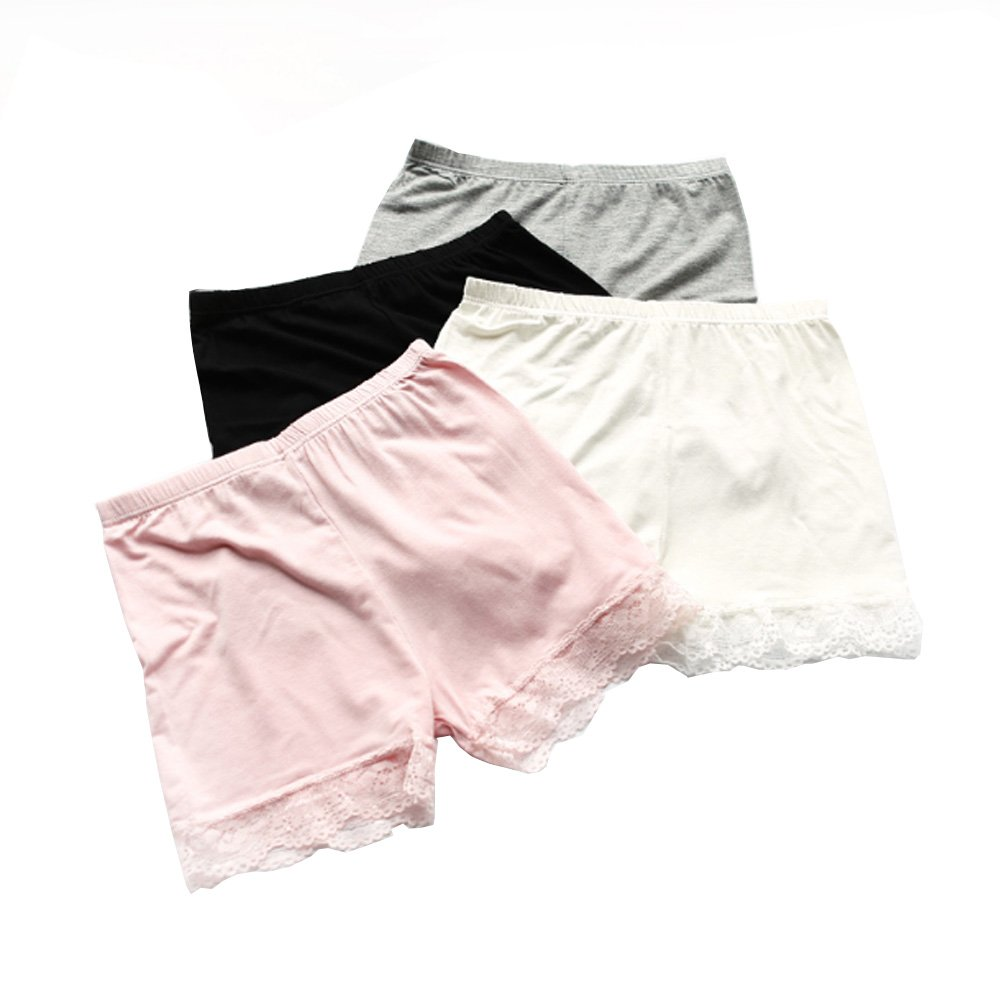 Bossail 3-12 Years Girls Solid Color Lace Trim Boyshort Underwear Safety Dress Panties 4 Pack (Style1, 10-12 Years)