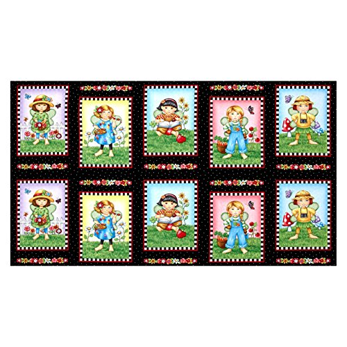 Fabric & Fabric 0492033 QT Fabrics Mary's Fairies Patches 24in Panel Black,
