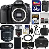 Canon EOS 80D Wi-Fi Digital SLR Camera Body with 10-18mm IS STM Lens + 64GB Card + Case + Flash + Battery/Charger + Tripod + Kit