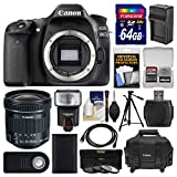 Cheap Canon EOS 80D Wi-Fi Digital SLR Camera Body with 10-18mm IS STM Lens + 64GB Card + Case + Flash + Battery/Charger + Tripod + Kit
