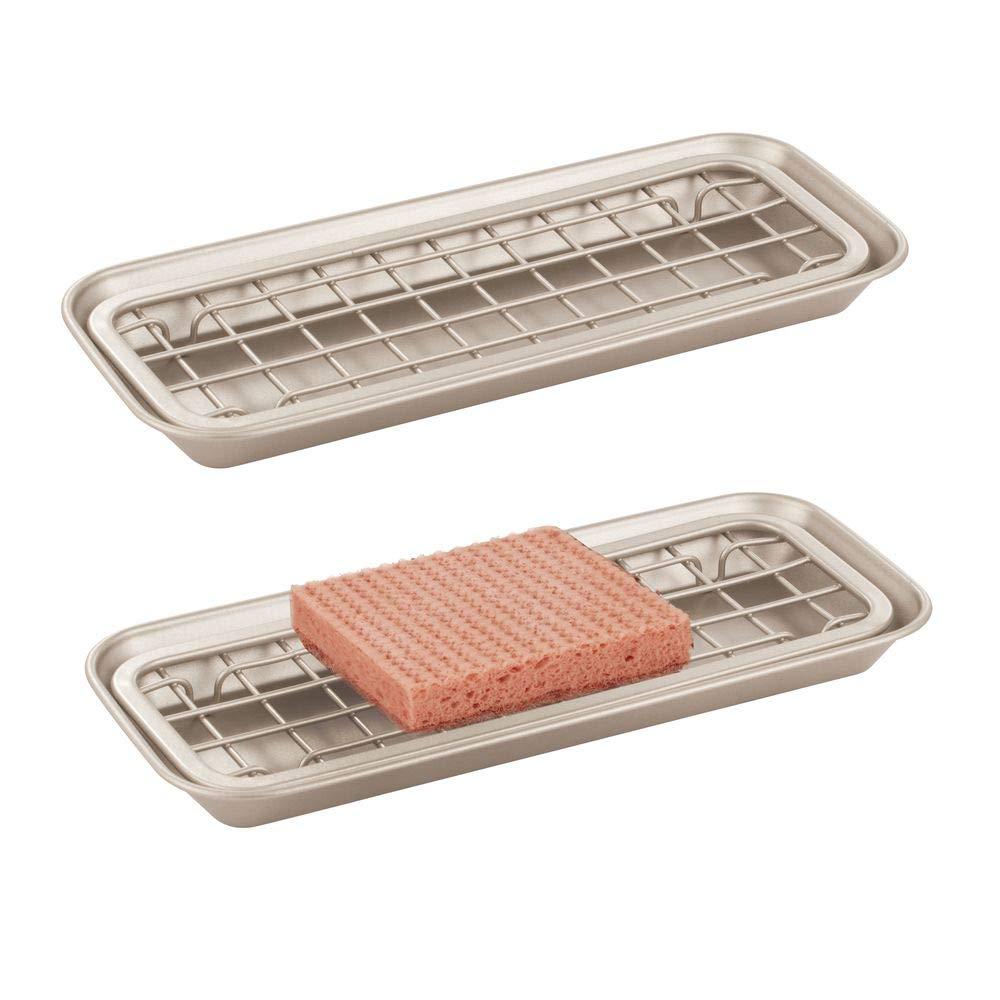 MetroDecor mDesign Juego de 2 portaestropajos de Metal – Accesorio de Cocina o baño para Fregadero o Lavabo – Jabonera de Cocina con Bandeja de Goteo – Plateado Mate