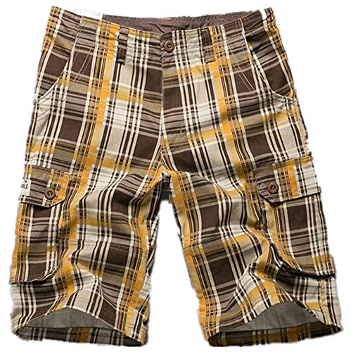 - qiu ping Shorts, Multi-Pocket Pants, Plaid Five-Point Shorts, Men's Casual Loose Men's Trousers, Shorts, Male Yellow