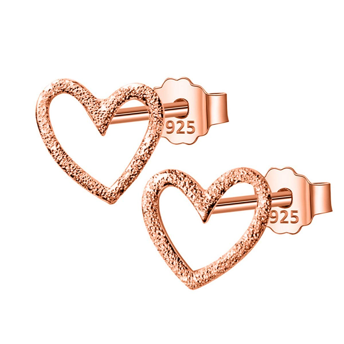 Liliynice 925 Sterling Silver Jewelry Women Fashion Cute Tiny 0.8Cmx0.9Cm Hollow Heart Stud Earrings Gift For Girls Kids Lady DS196 1Pair Rose