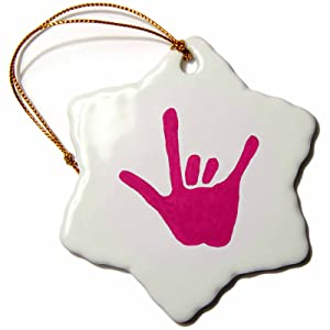 CherylsArt Love Sign Language Pink Snowflake Porcelain Ornament, 3-Inch