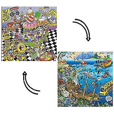 "Pieceless Puzzle ""School Cafeteria Extreme"" and ""Sunken Treasure""; 2-Sided Jigsaw Puzzle by Ceaco: Toys & Games"