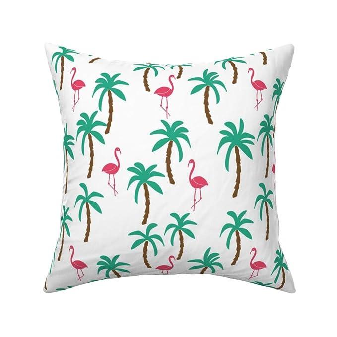 Polycotton Fabric Tropical Fancy Flamingo Palm Trees