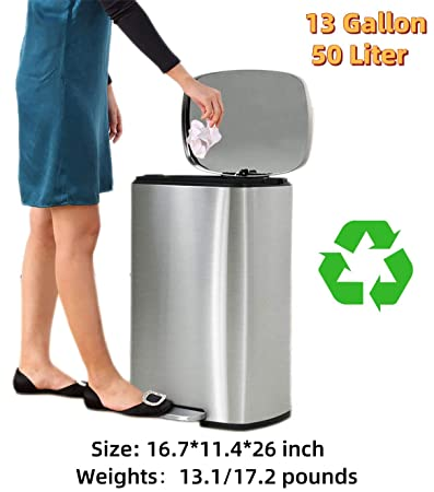 Amazon.com: Payhere Bathroom Trash Can Recycle Bin, 13 ...