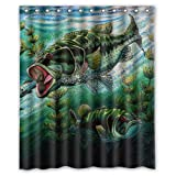 Bass Fishing Shower Curtain Shower Curtain Bathroom Waterproof EVA Large Mouth Bass Colorful Catfish Jumping Out Of The Sea/Bass Fishing Home decor Bath Fabric 60