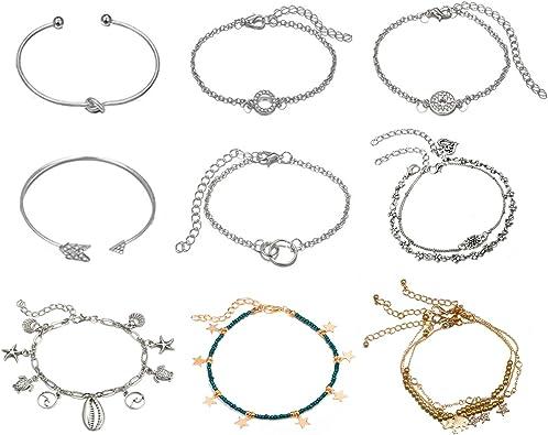 EQLEF Ankle Bracelet, Flecha Vintage/Nudo para Corbata/Pulsera de ...