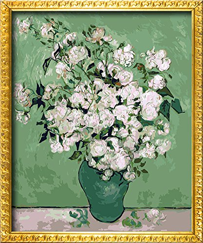 DIY PBN-paint by numbers famous painting White Rose by Van Gogh 16-by-20 inches Frameless.