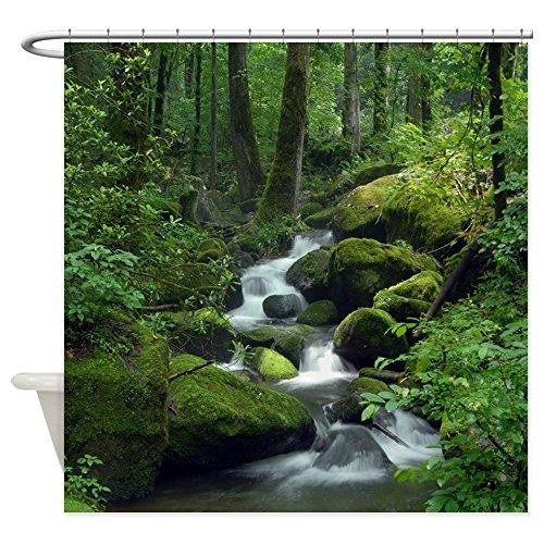CafePress - Summer Forest Brook - Decorative Fabric Shower Curtain