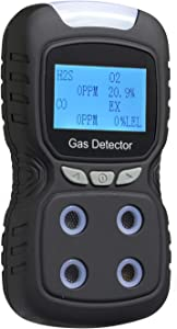 Gas Detector, Rechargeable Portable 4 in 1 Gas Clip 4-Gas Monitor Meter Tester Analyzer Sound Light Shock