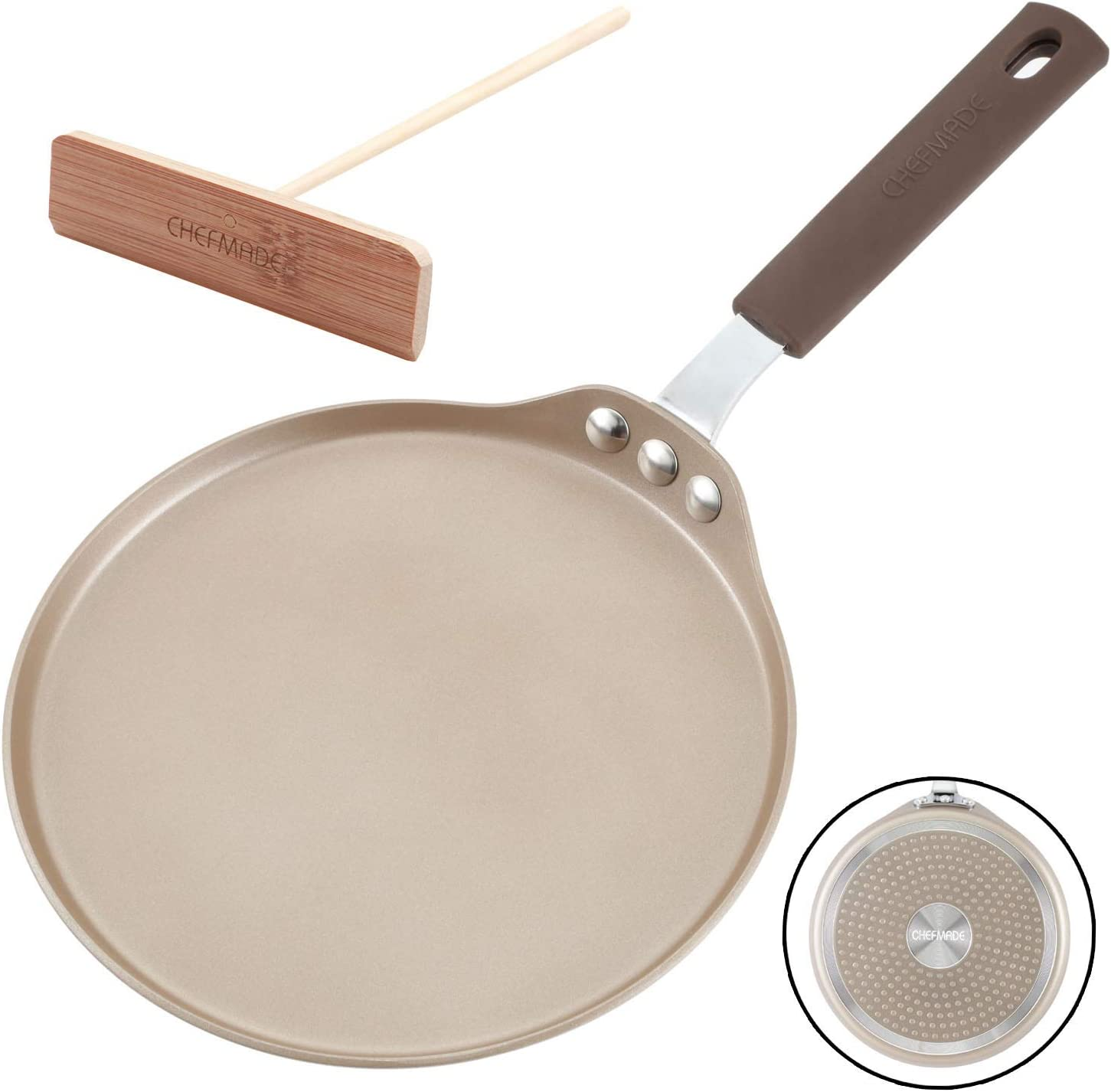 CHEFMADE Crepe Pan with Bamboo Spreader, 8-Inch Non-stick Pancake Pan with Insulating Silicone Handle, FDA Approved for Gas, Induction, Electric Cooker (Champagne Gold)
