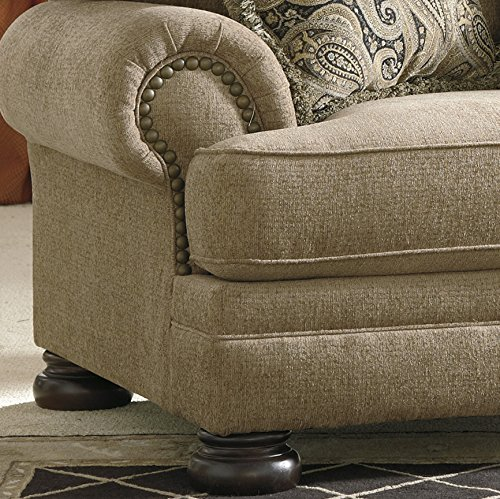 Keereel Traditional Sand Color Fiber Chair and a Half With Ottoman