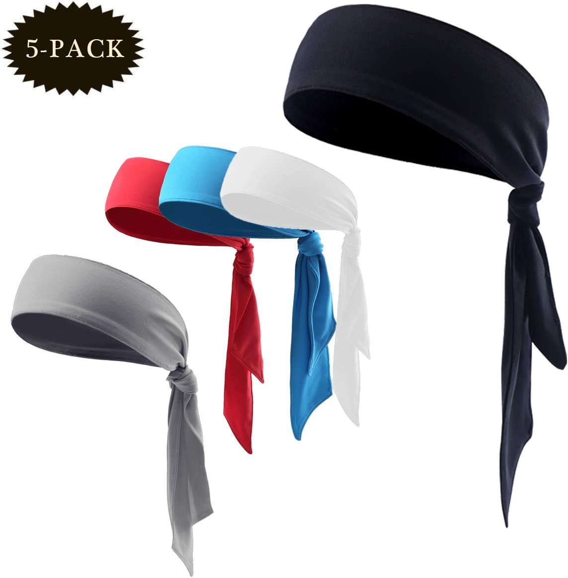 with Moisture Wicking /& Non Slip Sports Headband for Running SHIJI Sports Head Tie for Women Men Working Out Tennis and Premium Sweatband for Hairband with Performance Stretch.