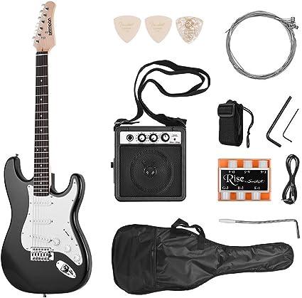 ammoon Guitarra Eléctrica Madera Maciza Paulownia Body Cuello de Arce 21 Trastes 6 Cuerdas con Altavoz Diapasón Bolsa de Guitarra Selecciones de Correa Mano Derecha (negro): Amazon.es: Instrumentos musicales