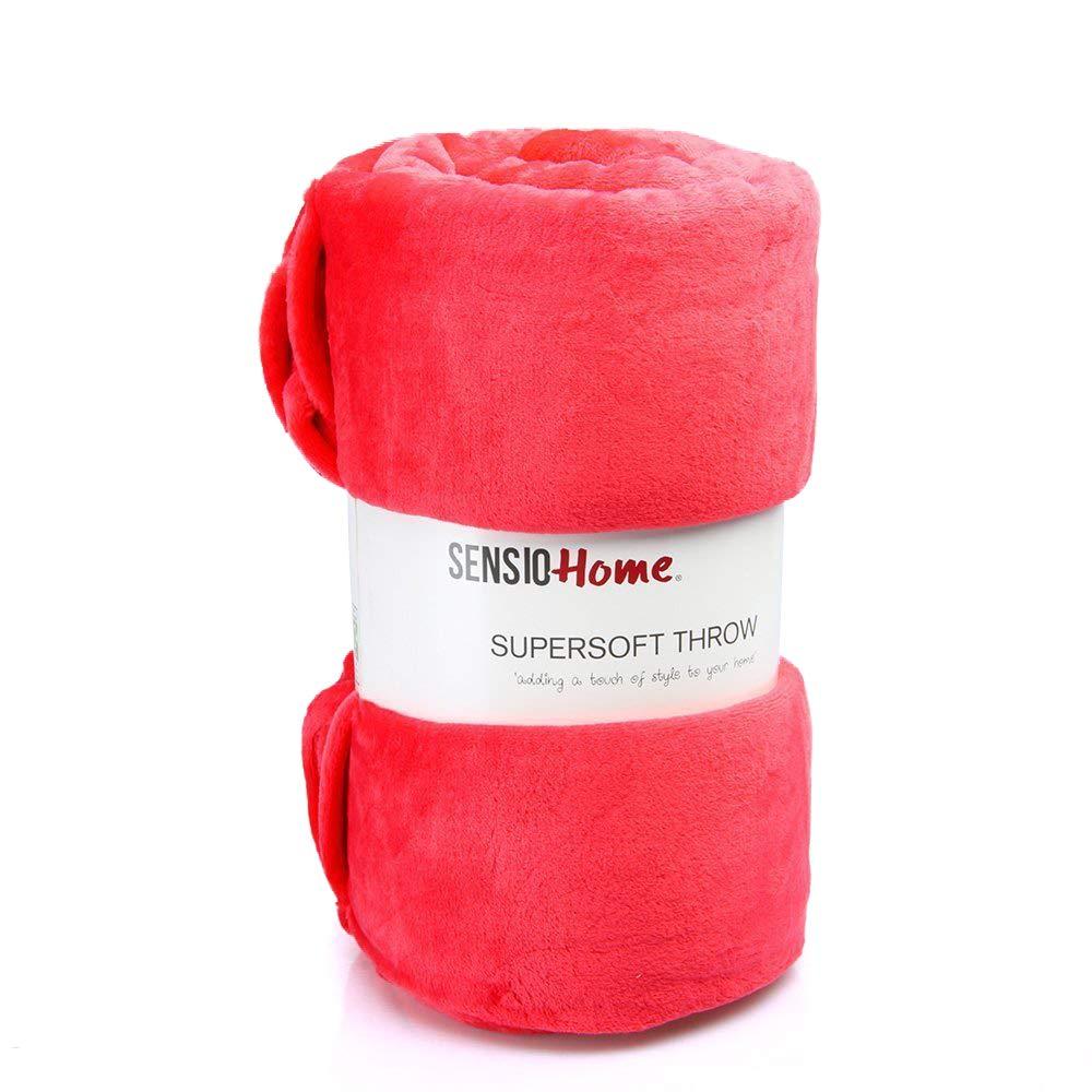 Superbe couverture en polaire douce de 200 x 200cm Sensio Home, illuminez votre lit, canapé, avec trois couleurs vives au choix, Microfibre, rose, 200 x 200 cm canapé