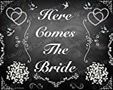 Here Comes the Bride Decor, Chalkboard style wedding print, Country wedding print, Victorian Black and White Wedding Decor, Bridal Shower Decor