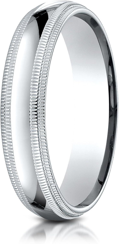 Mens 10K White Gold 5mm Slightly Domed Comfort Fit with Milgrain Wedding Band Ring