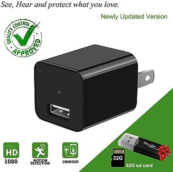 1080p HD USB Camara Espia Con Forma De Cargador Vigilancia Oculta Mini Size