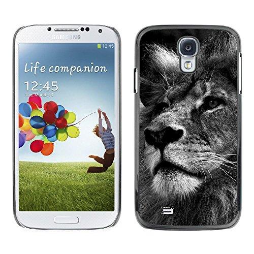 [Neutron-Star] Snap-on Series Coque de protection rigide Cas Case pour Samsung Galaxy S4 [Lion Noir Blanc Image Nature Big Cat]