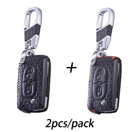MAXIOU Llavero de piel para Peugeot 206 207 307 308 407 408 Citroen Picasso Xsara C2 C3 C4 C4L C5 C6, Luxury Black + Red, 2-button