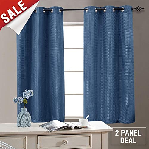 curtains for living room windows modern style privacy window curtains for living room 63 inch length darkening waffle weave textured bedroom treatment room amazoncom