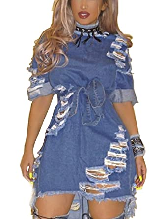 5d9b1cd2cd Gooket Women s Half Sleeve Light Blue Jeans Shirt Dress Ripped Hole  Distressed Night Club Denim Dress Plus Size at Amazon Women s Clothing  store