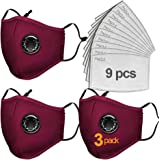 GREHOME 3 Pack PM2.5 Dust Mask Reusable Breathing Valve with 9 Pcs Filter