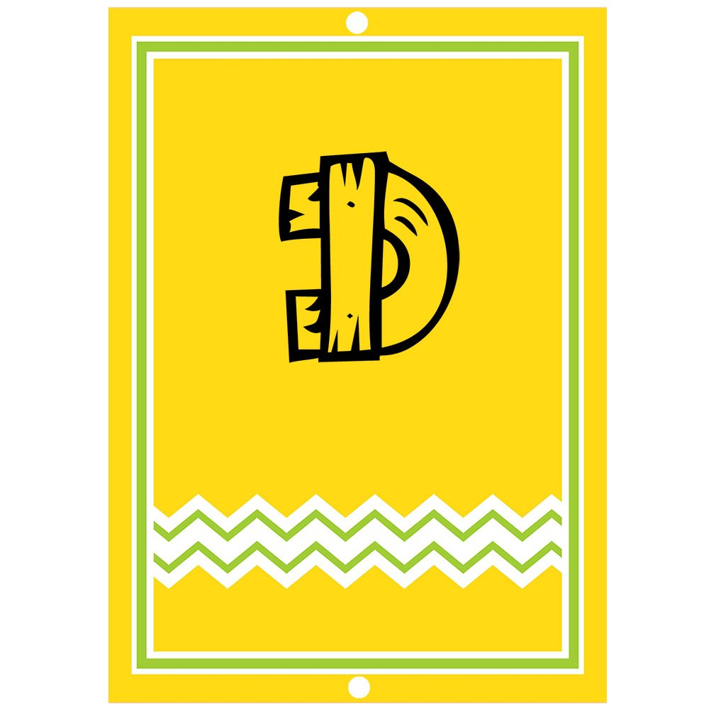 ''D '' Wood Initial Monogram Personalized Letter D Blue Room Nursery Décor METAL Sign Yellow