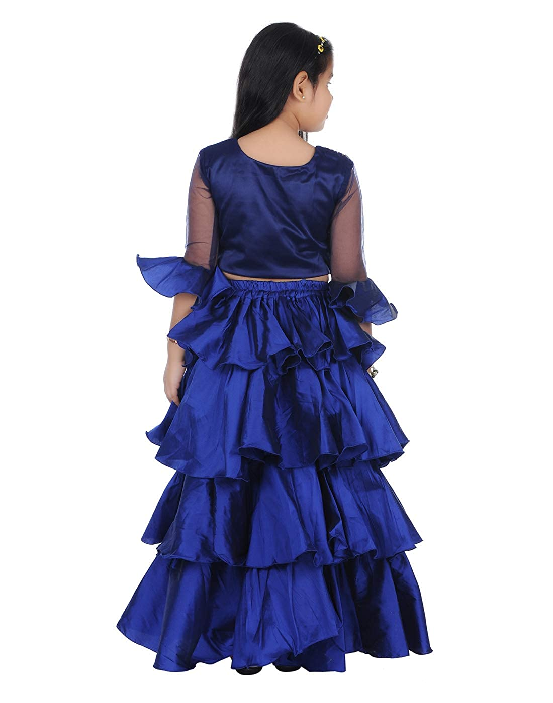 d3f5331f48fdf Je Taime Mumum s Blue taffeta and designer lhenga with crop top for Girls  1-17 years  Amazon.in  Clothing   Accessories