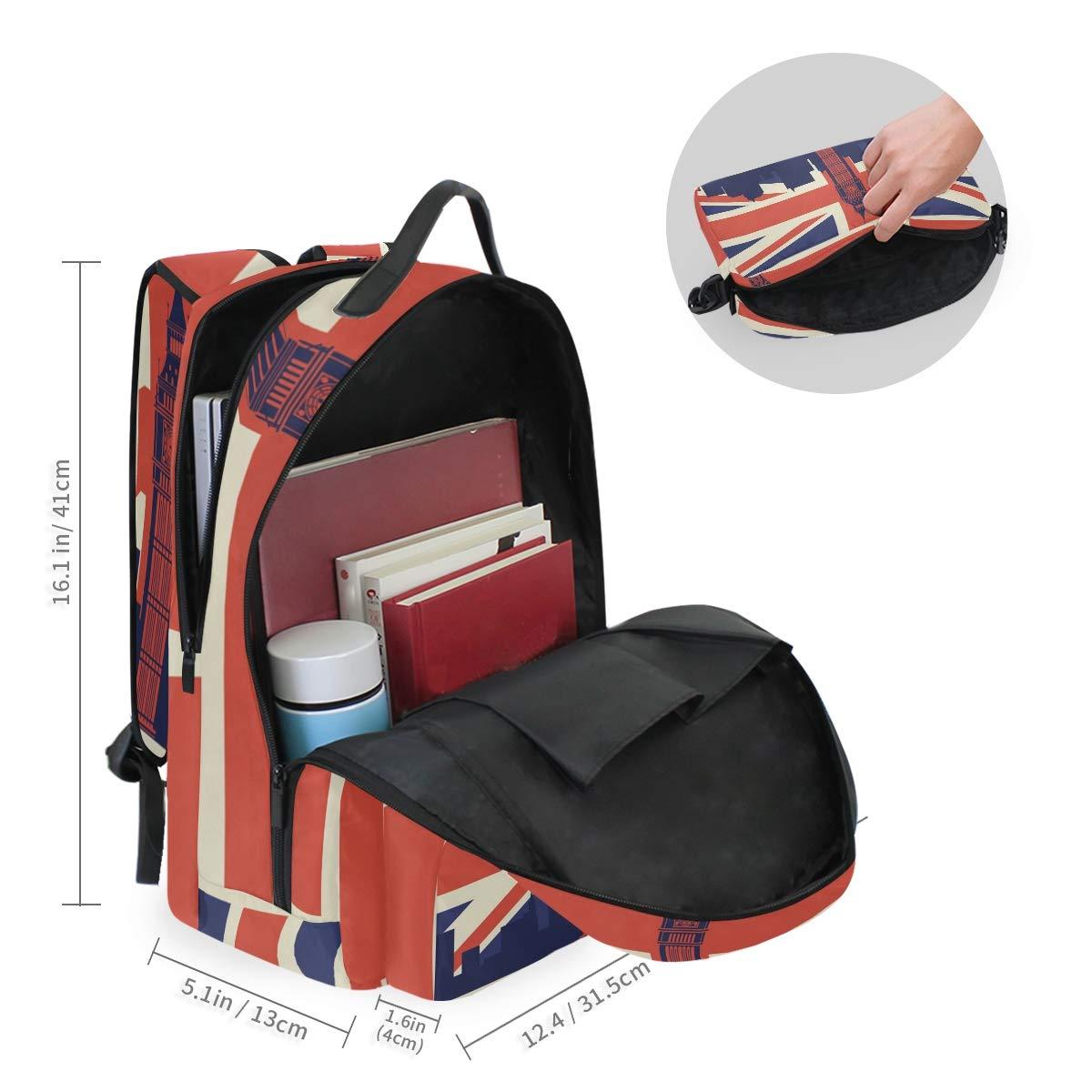 UK Flag Bell Tower Shoulder Backpack Messenger Crossbody Laptop Bag Student Bookbags for Kid Girls Boys