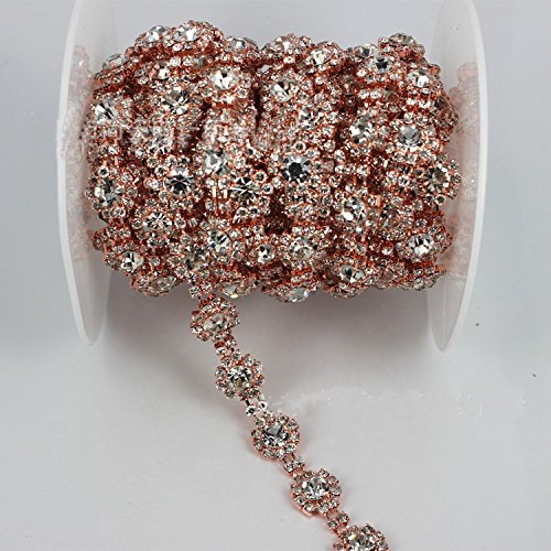 Rose Gold Trim - Crystal and Rhinestone Trim by the Yard with Rose Gold Metal Crystal Chain for Dresses ...