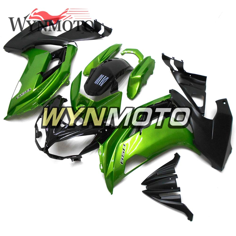 WYNMOTO ABS Injection Plastic Motorcycle Fairing Kit Cowlings For Kawasaki Ninja 650r ER-6F 2012 2013 2014 2015 2016Gloss Green Black Sportbike Coat